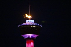 Calgary Tower aflame for Olympics
