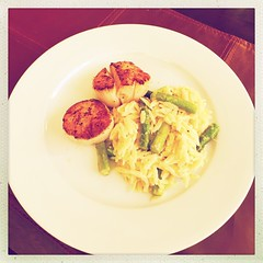 date nite seared scallops asparagus orzo with parmesan