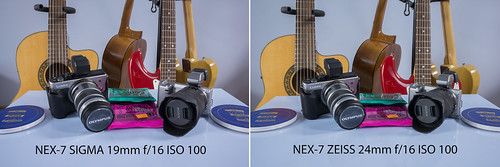 Comparison between SIGMA 19mm f/2.8 and ZEISS 24mm f/1.8 SONY NEX-7 @ f/16