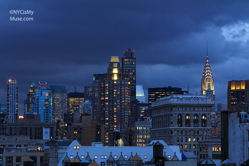 Chrysler Building, Flatiron, cloudy skies near sunset