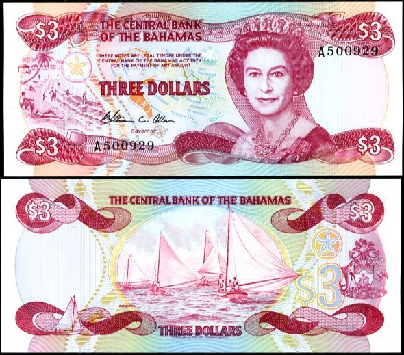 3 Doláre Bahamy 1974 (1984), Pick 44