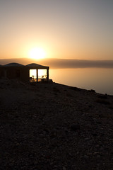 Setting sun on the dead sea