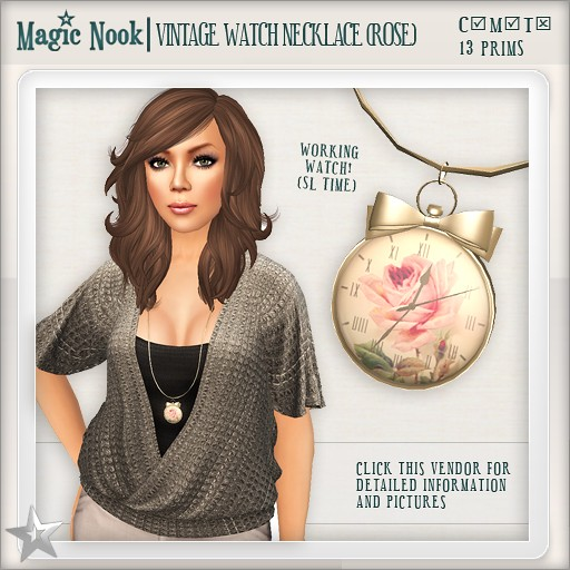 [MAGIC NOOK] Vintage Watch Necklace (Rose)