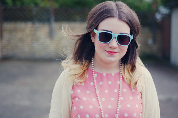 Wardrobeblock : Dorothy Perkins coral polka dot midi dress, topshop pastel yellow cardigan primark shades