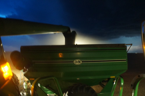 Unloading into the Grain Cart at Night