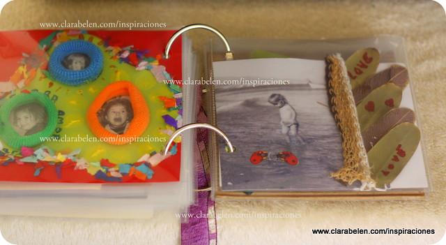Inspiraciones manualidades y reciclaje lbum de fotos casero con cartulina gomas del pelo y - Hacer un album de fotos casero ...