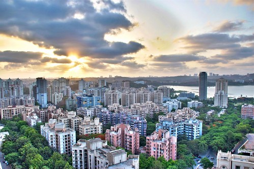 city sunset sky urban lake clouds landscape raw mumbai hdr powai