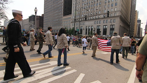 Iraq Veterans Against the War lead the march.