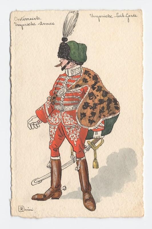 Austro-Hungarian soldier in ostentatiously ornamented uniform and single-feathered cap