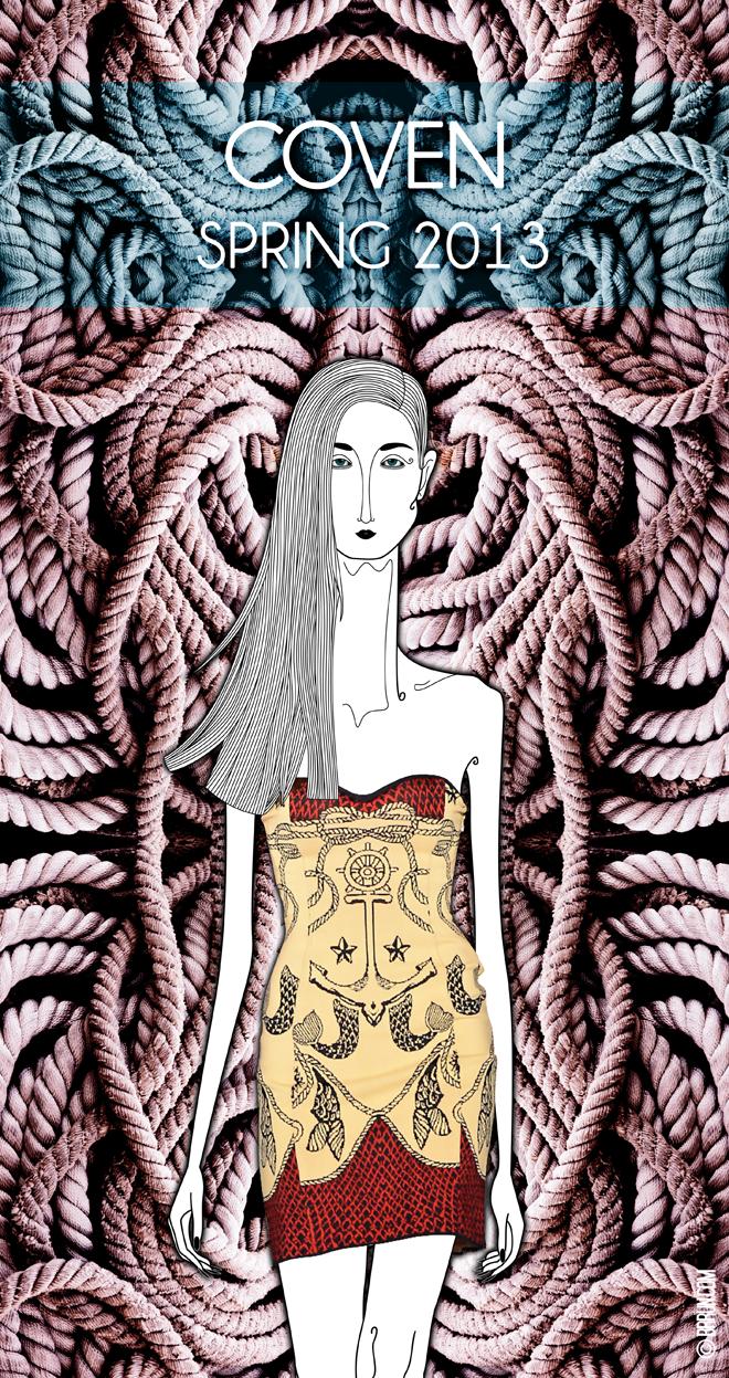 Coven, Spring 2013 – Fashion  Rio // Editor Chefe: Bruno Capasso // Texto: Brunno Almeida Maia // Ilustração: Leandro Dário // Foto: Beto Urrick // Arte: Tiago Gomes