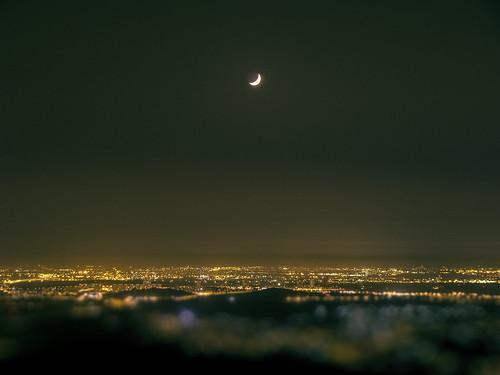 city moon field night landscape lights freedom flickr action bokeh palestine crescent citylights depth crescentmoon palestina alawi rashad phpro rashadalawi