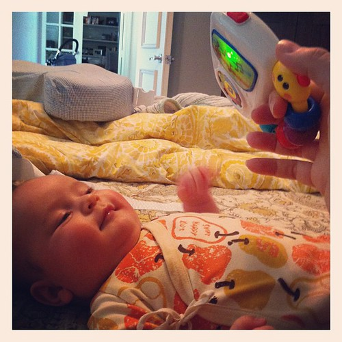 {Day 20} #cantlivewithout this damn flashing, light up classical music baby beat box {can't live without the baby, either!} #mayphotoaday #catchup