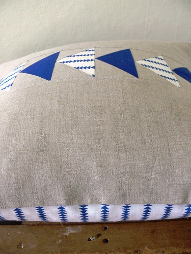 Flying Geese Pillow Cover in Blue by Jenny Bartoy