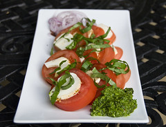Caprese with Scape Pesto