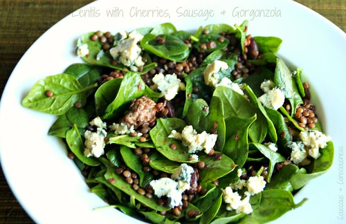 Lentils with Cherries, Sausage & Gorgonzola