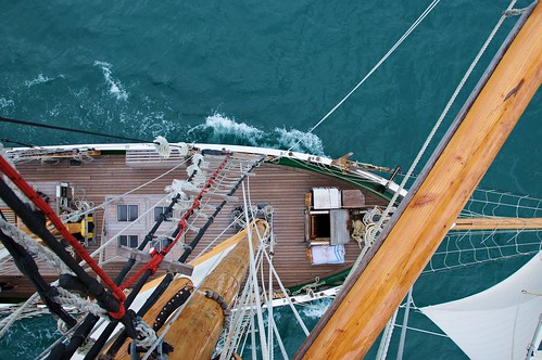 Front and middle deck of the tall sailing ship R. Tucker Thompson, Bay of Islands, Northland, New Zealand