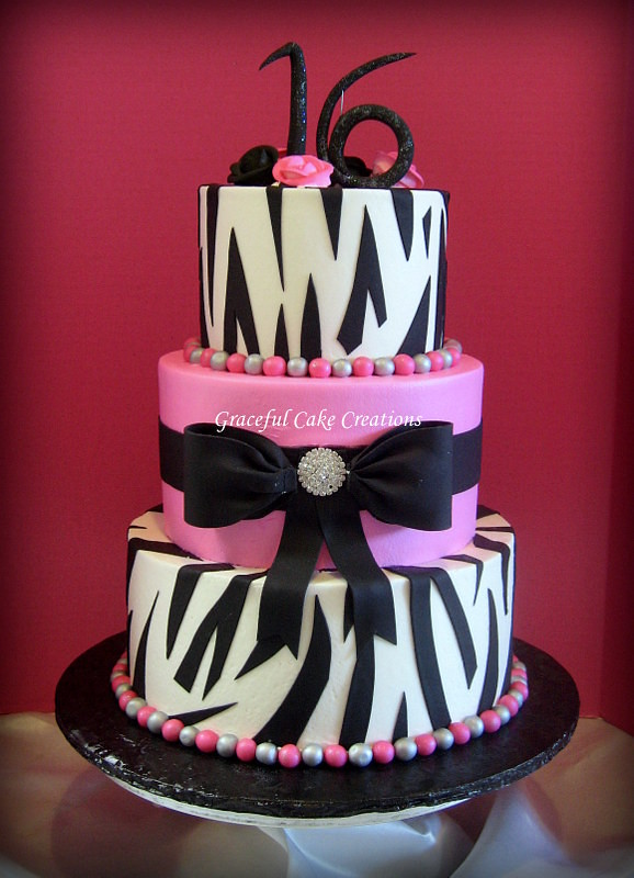 Hot Pink And Zebra Print Sweet Sixteen Birthday Cake A Photo On