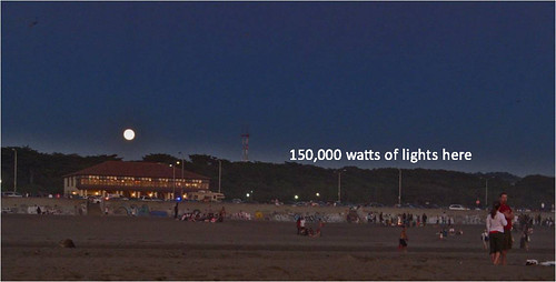 View of impact of lighting from Ocean Beach
