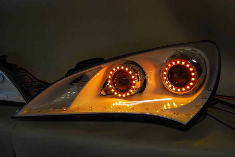 Srlss Led Dual Projector Headlights White Bezels Chrome