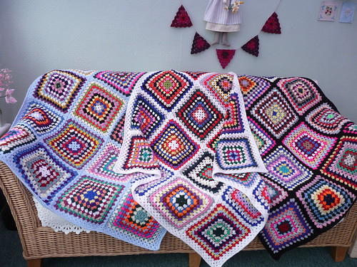 Joanna (UK) Her Aunt gave her some Large Crocheted Blankets, she has made them into 6 smaller ones for 'SIBOL'. These are the first 3! Aren't they gorgeous!