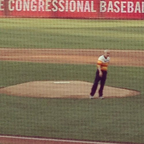 Ron Paul throwing out the first pitch last night
