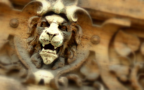 An intense lion on a building off of a side street.