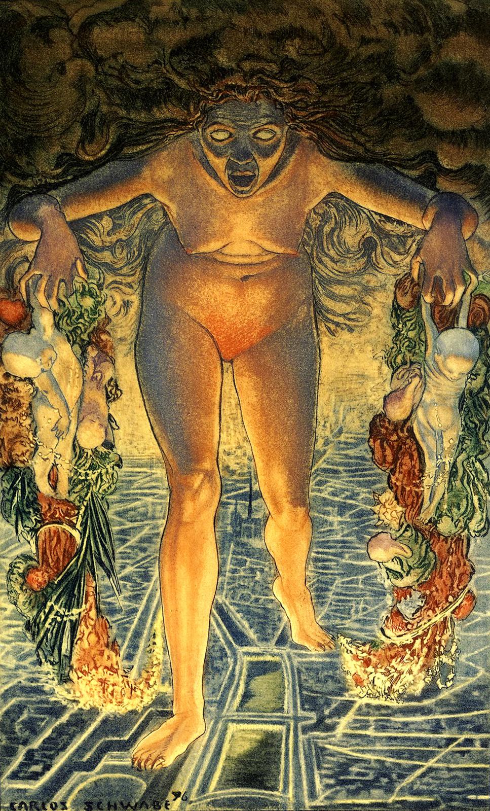 Carlos Schwabe - Le Crepuscule du soir Fleurs du Mal Dawn, 1900