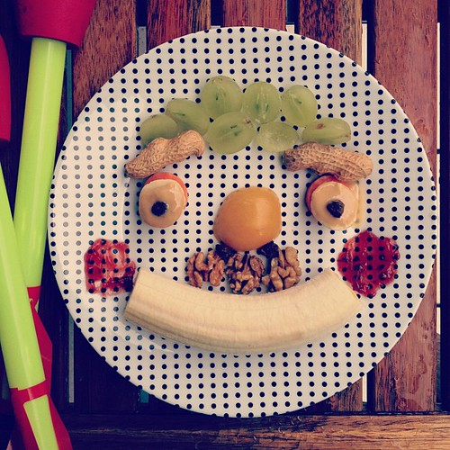 Funny face snack for Bird. With a walnut #moustache of course. #face #funny #snack #kids
