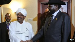 Sudan President Omar Hassan al-Bashir with President Silva Kiir of South Sudan. The two leaders met at the African Union Summit in Ethiopia. by Pan-African News Wire File Photos