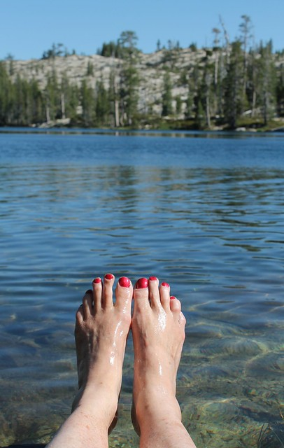 Dipping the Toes in Lovely Long Lake