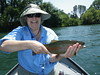 Ellen is pleased with another colorful Lower Sacramento River Rainbow