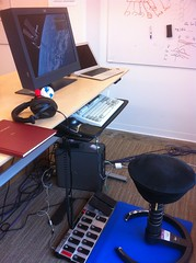 Standing desk with foot pedals