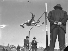 High jump at the men's athletics at the Sports Ground, 1935 / photographer Sam Hood