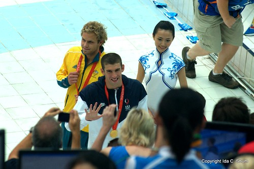 "Michael Phelps says ""Hey"""