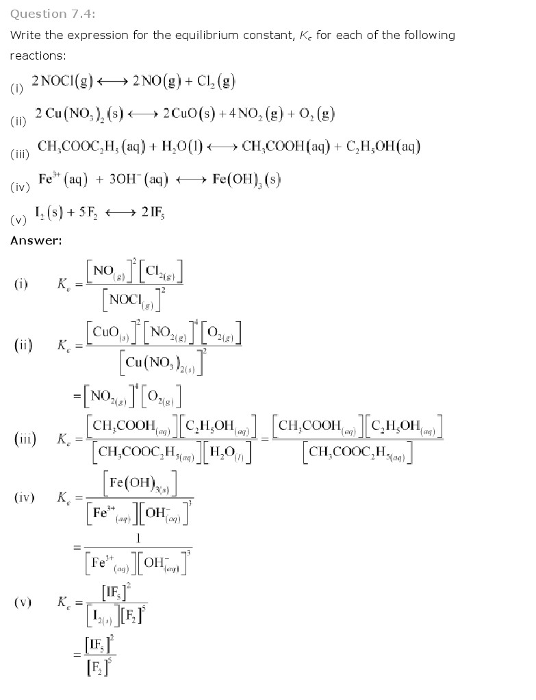 Chemistry Book Ch 7 Equilibrium Class 11 NCERT Solutions