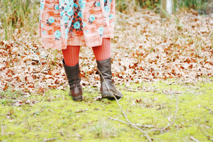 boots and vintage skirt