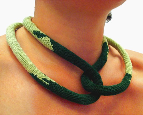 Green sea -Crochet necklace