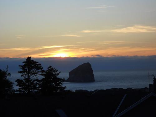 Haystack Rock at dusk