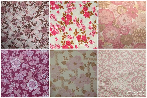 Bundle of pink vintage sheet FQ's