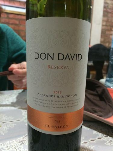 Puerto Iguazu: vin rouge Don David, Cabernet Sauvignon, et de la Réserve svp. Splendide !