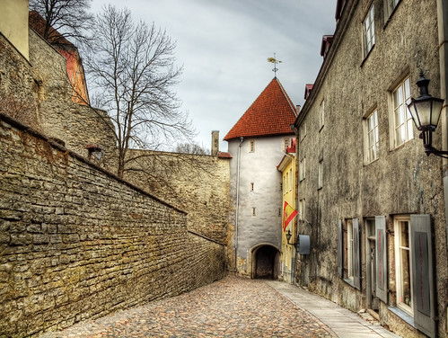 A city gate in the old city of Tallinn, Estonia