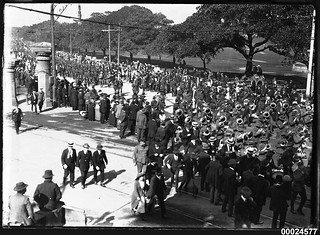 Australian troops marching on Randwick Road in Sydney