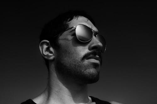 [フリー画像素材] 人物, 男性, サングラス, モノクロ ID:201204281800
