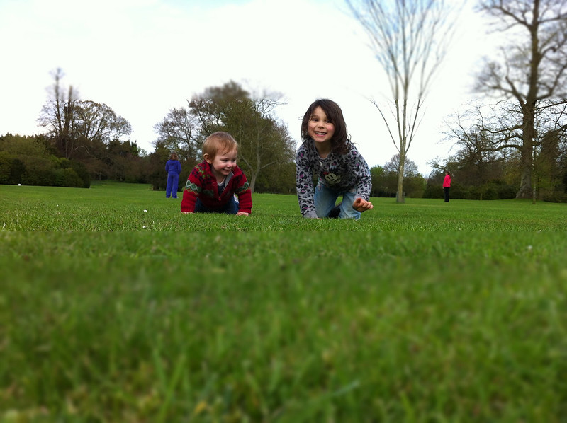 fi and nola on the grass