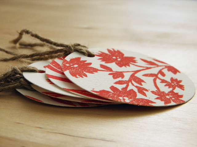 Gift Tag Set - Red Flowers
