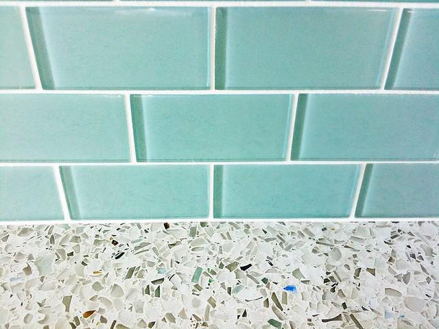 Turquoise Subway Tile Kitchen
