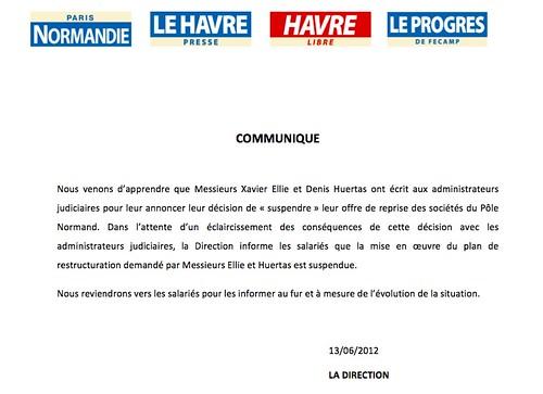Communiqué du Pôle Normand du groupe Hersant