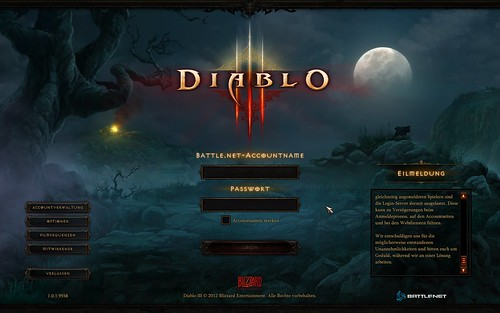 Diablo 3 Login-Screen