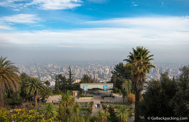View of Santiago from atop Cerro San Cristobal