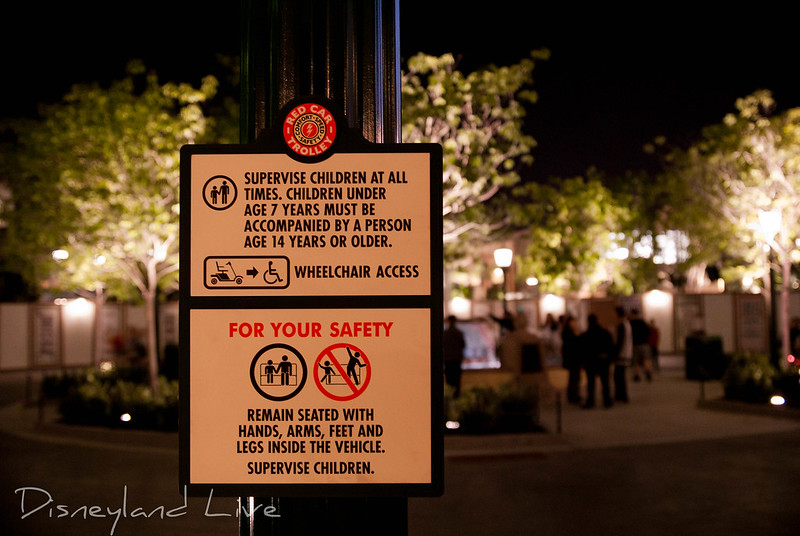 Red Car Trolley Safety Sign, Buena Vista Street